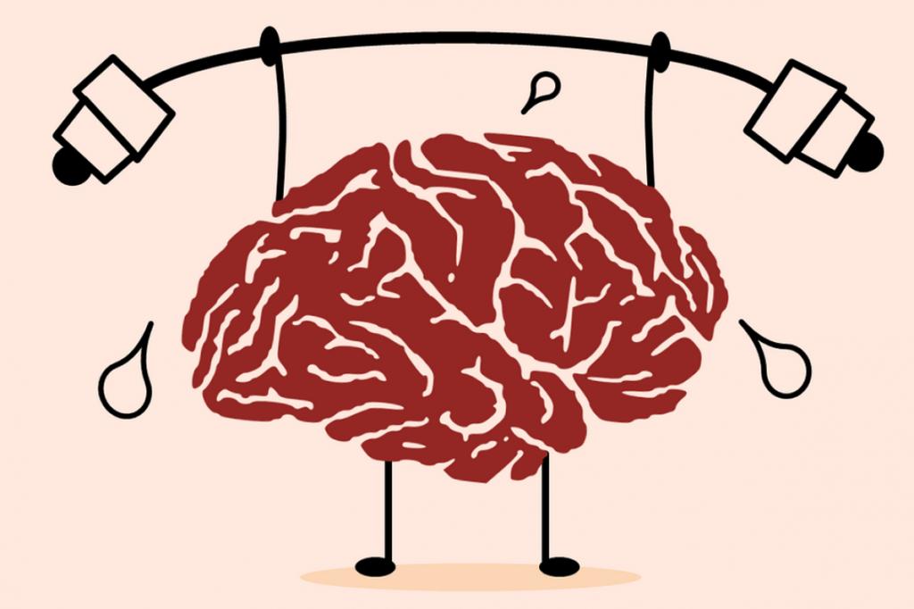 Cartoon of a brain doing weightlifting