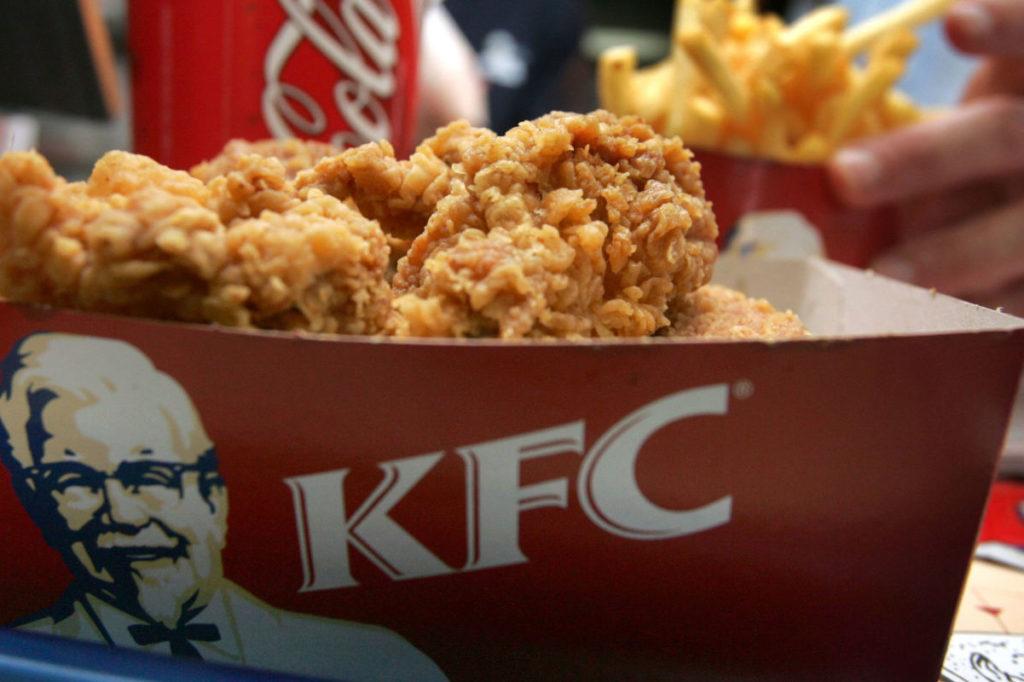 Fried chicken menu at KFC