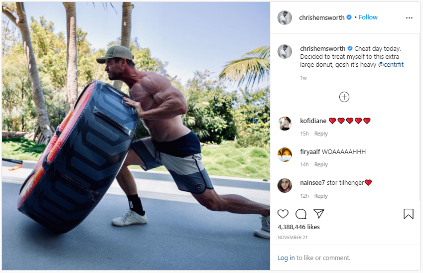 Chris Hemsworth's Instagram post of him flipping a tire