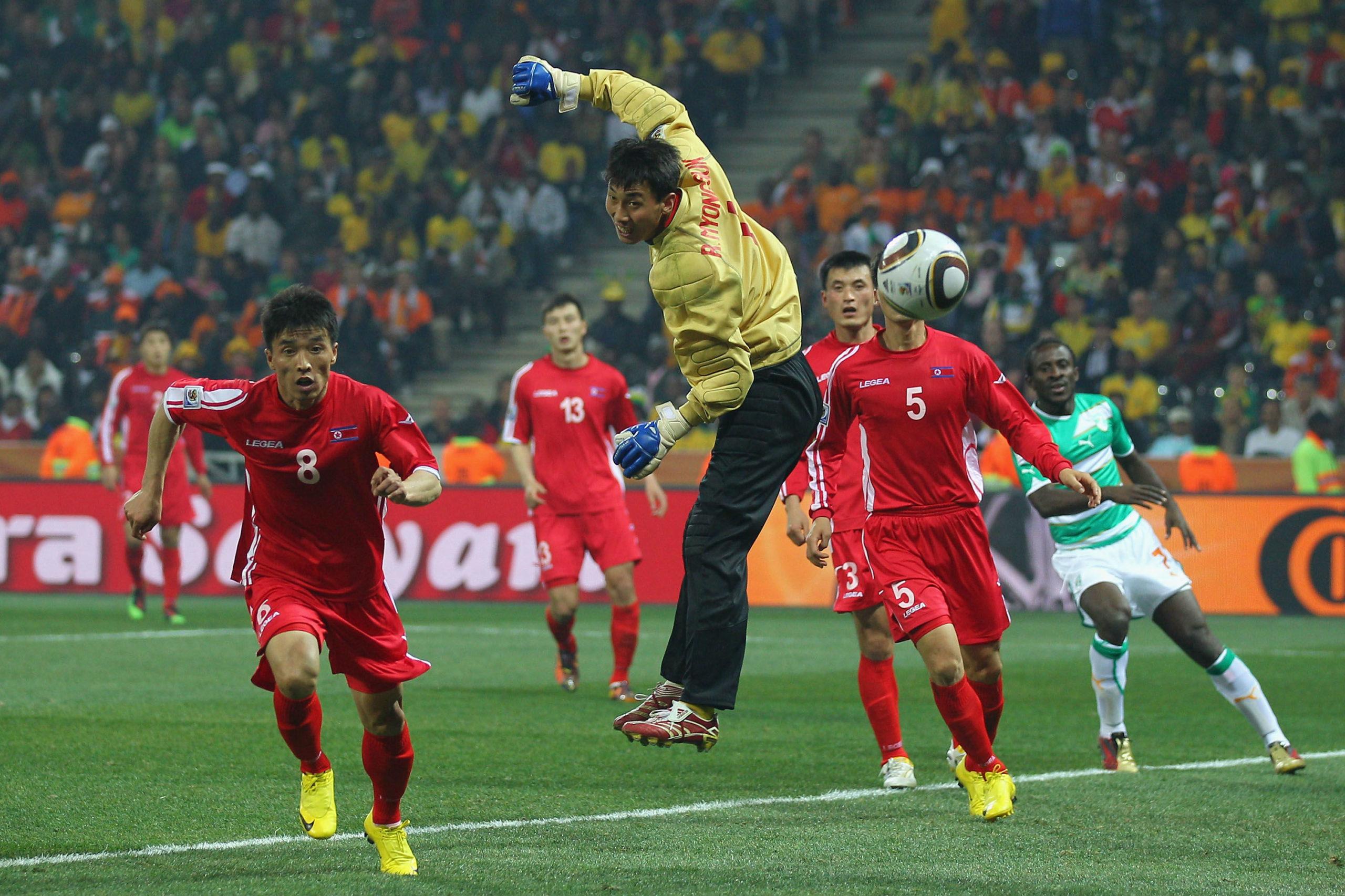 North Korean teams playing soccer
