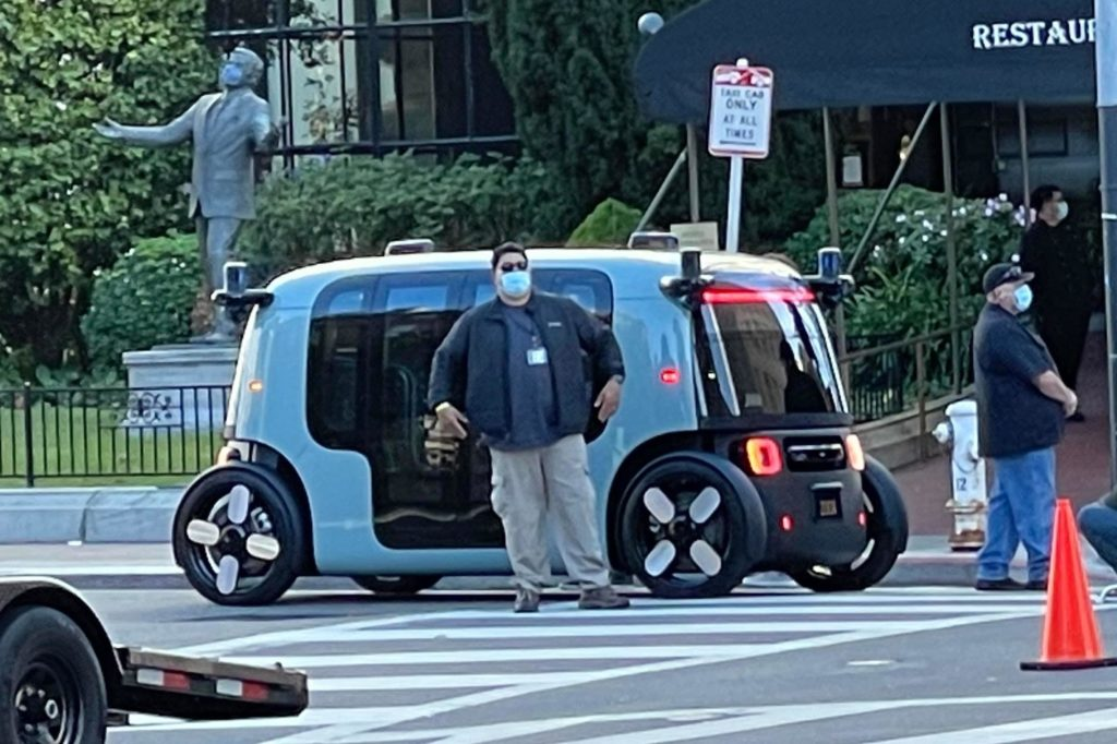 A rare sighting of the Zoox autonomous car in San Francisco ahead of its official release