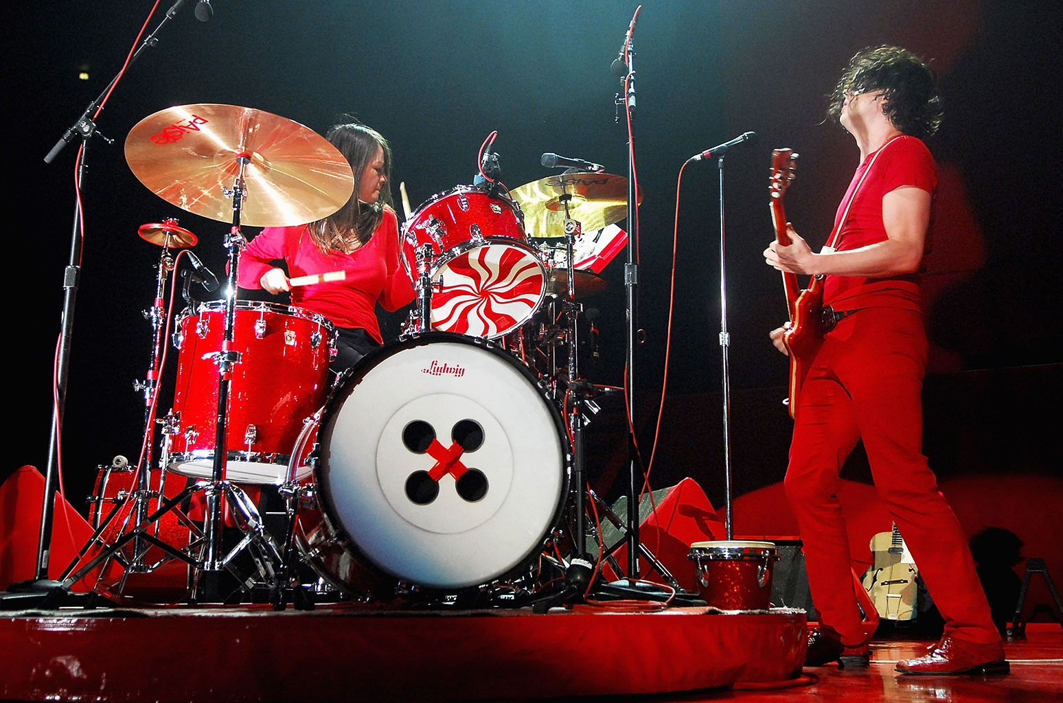 The White Stripes live on their final concert at the Snowden Grove Amphitheater in Southaven, Mississippi, 2007.