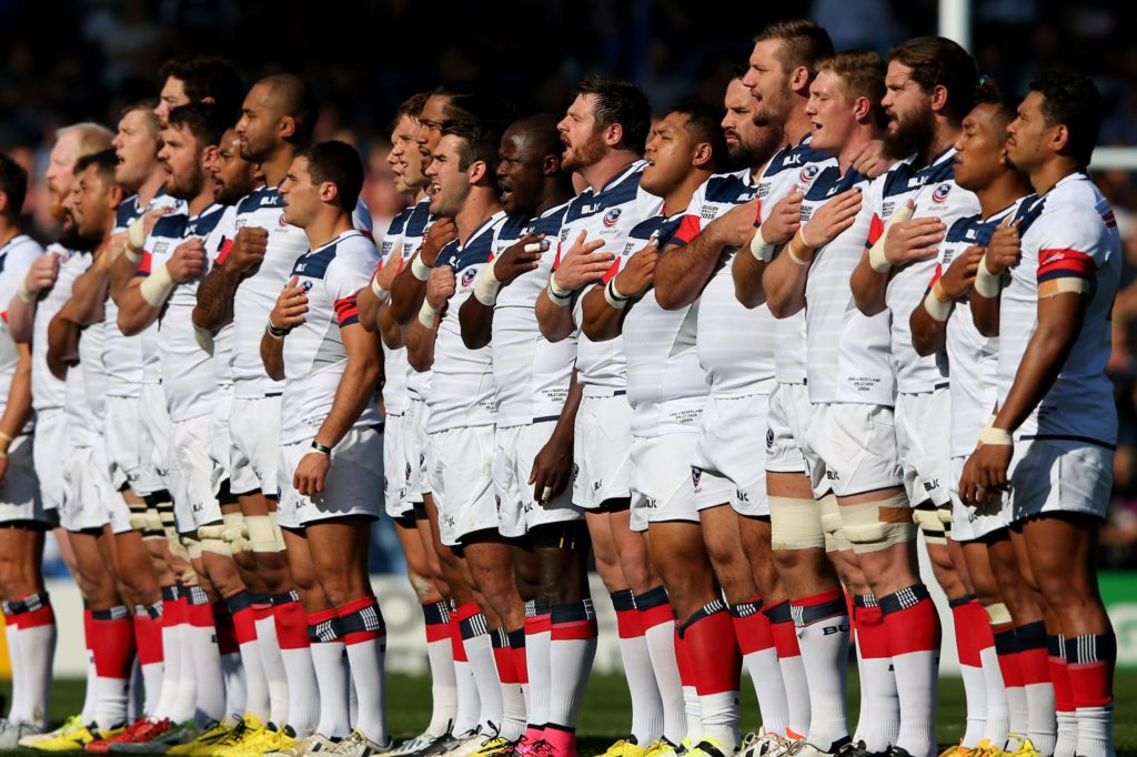 The U.S. men's national rugby union team singing the national anthem before an international game